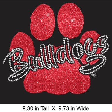 Bulldogs Paw CO Vinyl and Rhinestone Transfer